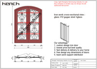 Hench Private Design Luxury Villa Wrought Iron Entry Doors V T8
