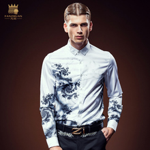 Free Shipping New fashion 2016 personality male Men's high-end long sleeved printing ink flower shirt slim 612129 instock blouse