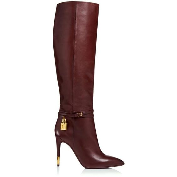 d3f029f4971 Gullick Winter Burgundy Smooth Leather Women Knee High Boots Sexy Pointy  Toe Ankle Buckles Ladies High Heel Boots-in Ankle Boots from Shoes on ...