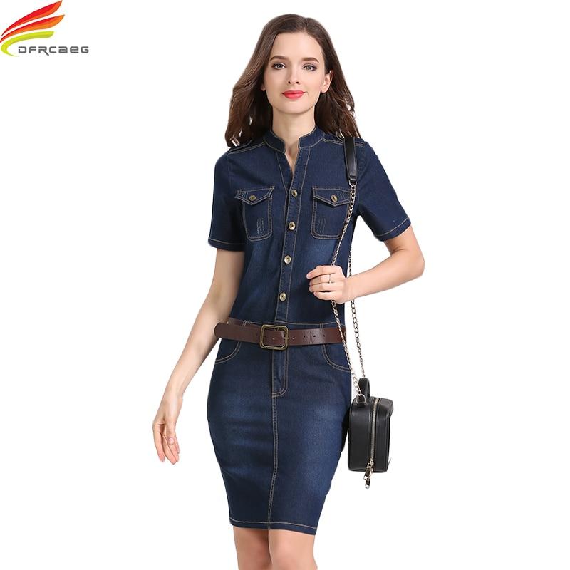 Obleka Jean Obleke 2018 Poletje Style Sexy Hip Ženske Kratek rokav Denim Dress Ženska Slim Casual Club Bodycon Jeans Ženske oblačenja