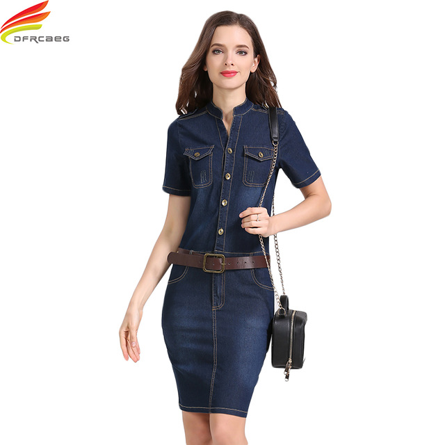 389553189c Pencil Jean Dresses 2018 Summer Style Sexy Hip Women Short Sleeve Denim  Dress Woman Slim Casual Club Bodycon Jeans Women Dress
