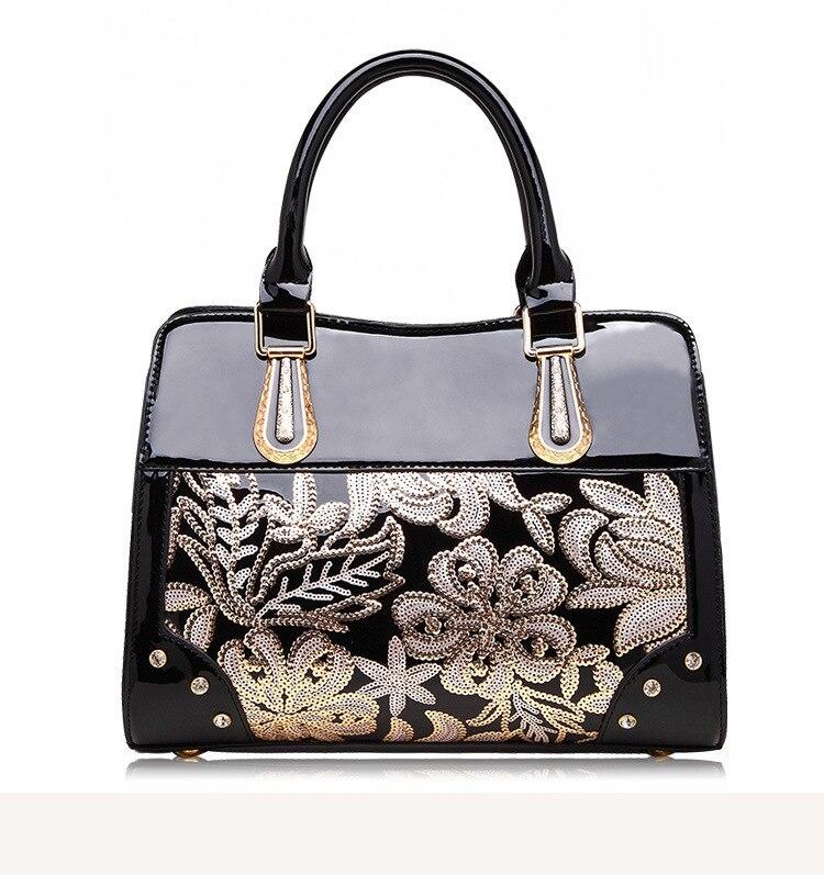 Luxury Designer Black Leather Tote Bag Handbags Sequin Flower Women ... 5de670a8a6bd