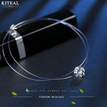 KITEAL fishing crystal line silver color chocker women necklace short chain round AAA CZ zircon collier Luxury 925 Jewelry(China)