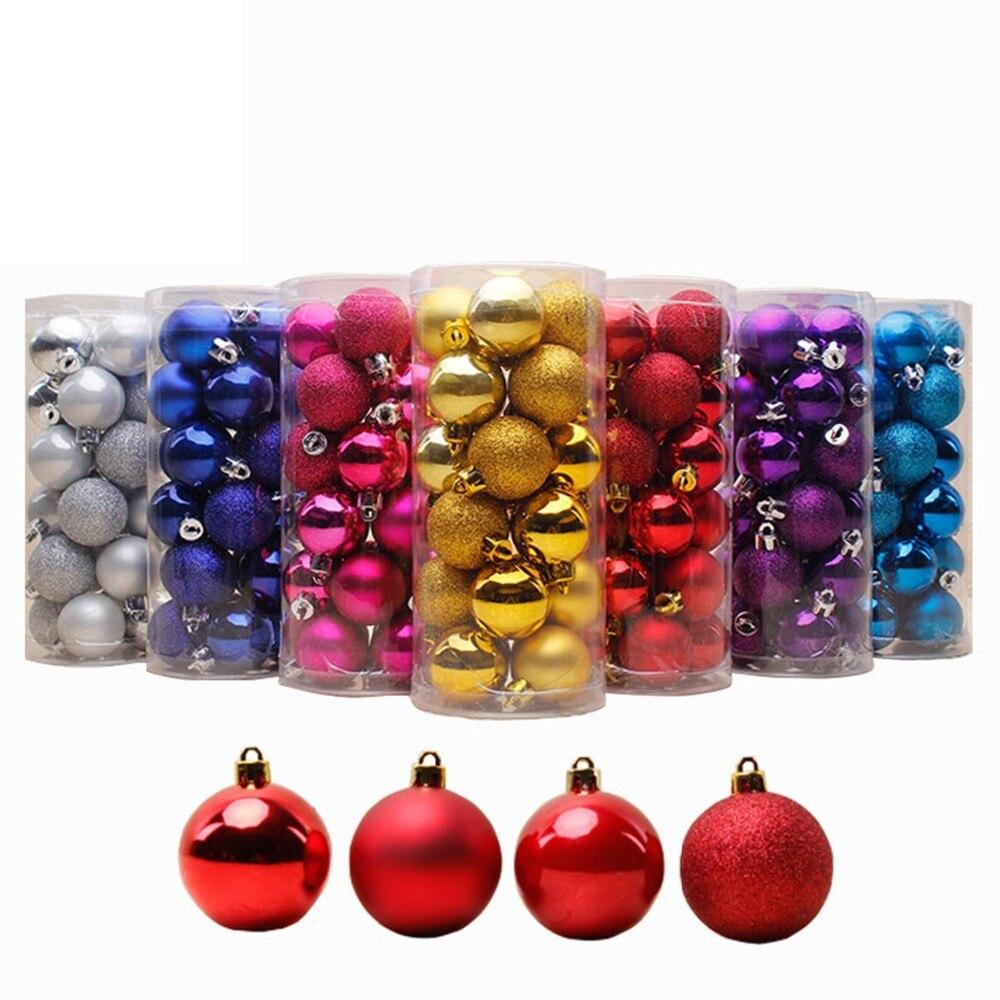 24 PCS 4cm Modern Shiny Christmas Tree Ball Baubles Party Wedding Hanging Ornament Christmas ...