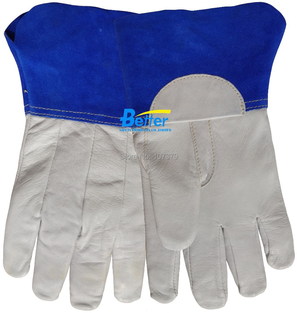 TIG MIG Leather Welding Glove Excellent Leather Driver Glove TIG MIG Grain Goatskin Leather Safety Glove mig mag burner gas burner gas linternas wp 17 sr 17 tig welding torch complete 17feet 5meter soldering iron air cooled 150amp