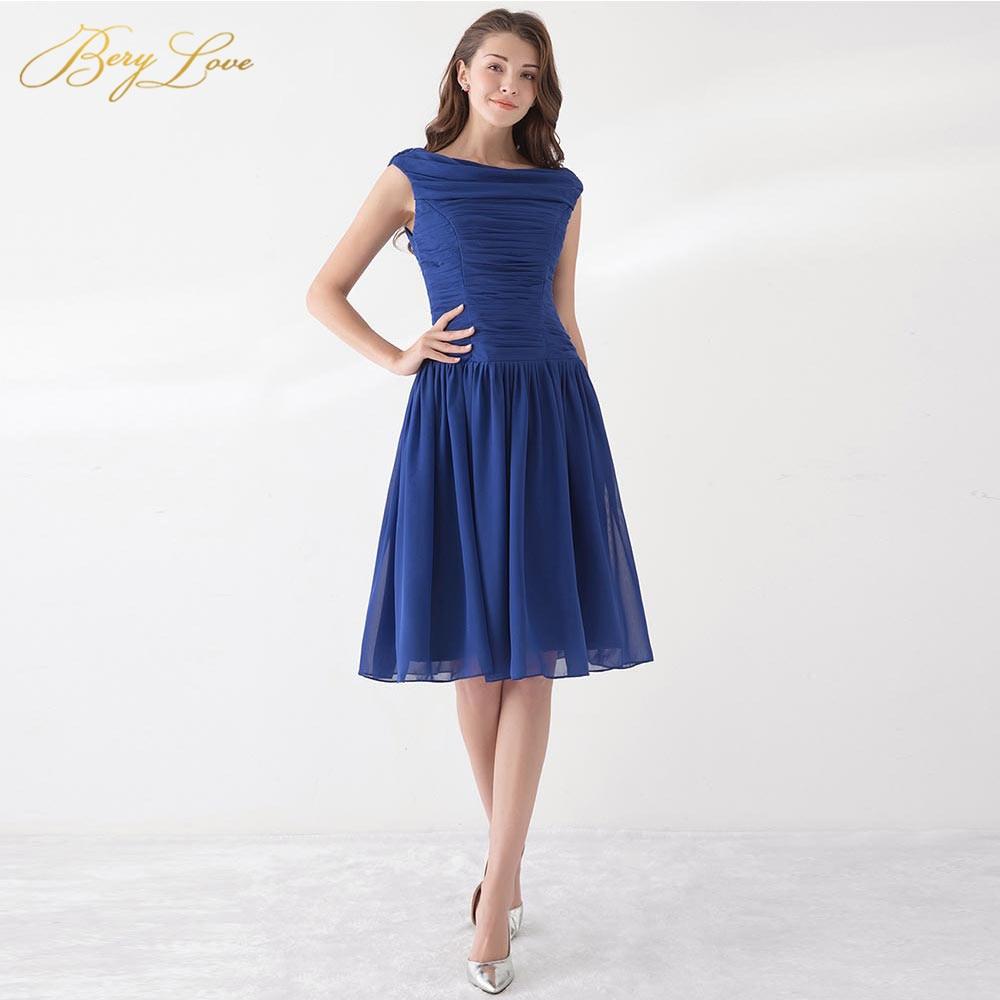 BeryLove Simple Cheap Navy Blue Bridesmaid Dresses 2019