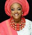 Clássica orange coral contas conjuntos de jóias new design nupcial do casamento africano/mulheres contas de colar de jóias definir frete grátis cj839
