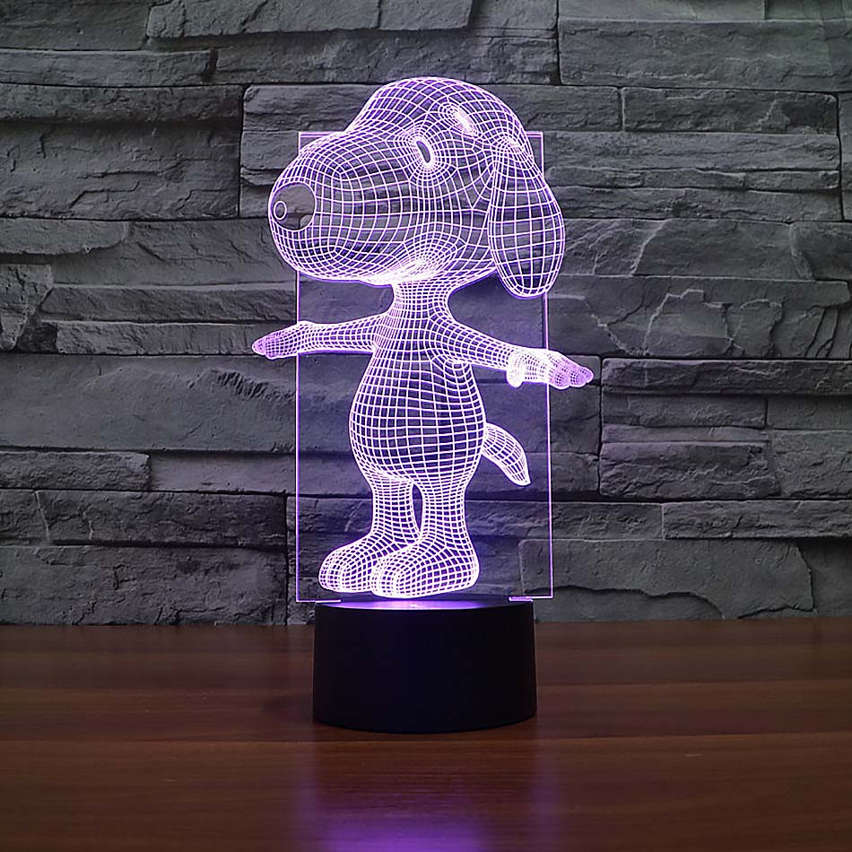 2017 New Design Cute Cartoon Dog Touch Switch 3D USB LED 7 Color Changing Lamp Home Decoration Night Light For Holiday Kids Gift mipow btl300 creative led light bluetooth aromatherapy flameless candle voice control lamp holiday party decoration gift
