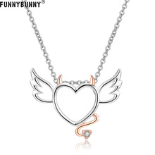 FUNNYBUNNY Sterling Silver Devil Heart with Wings Pendant Necklace for Women Valentine's Day present Party favors недорого