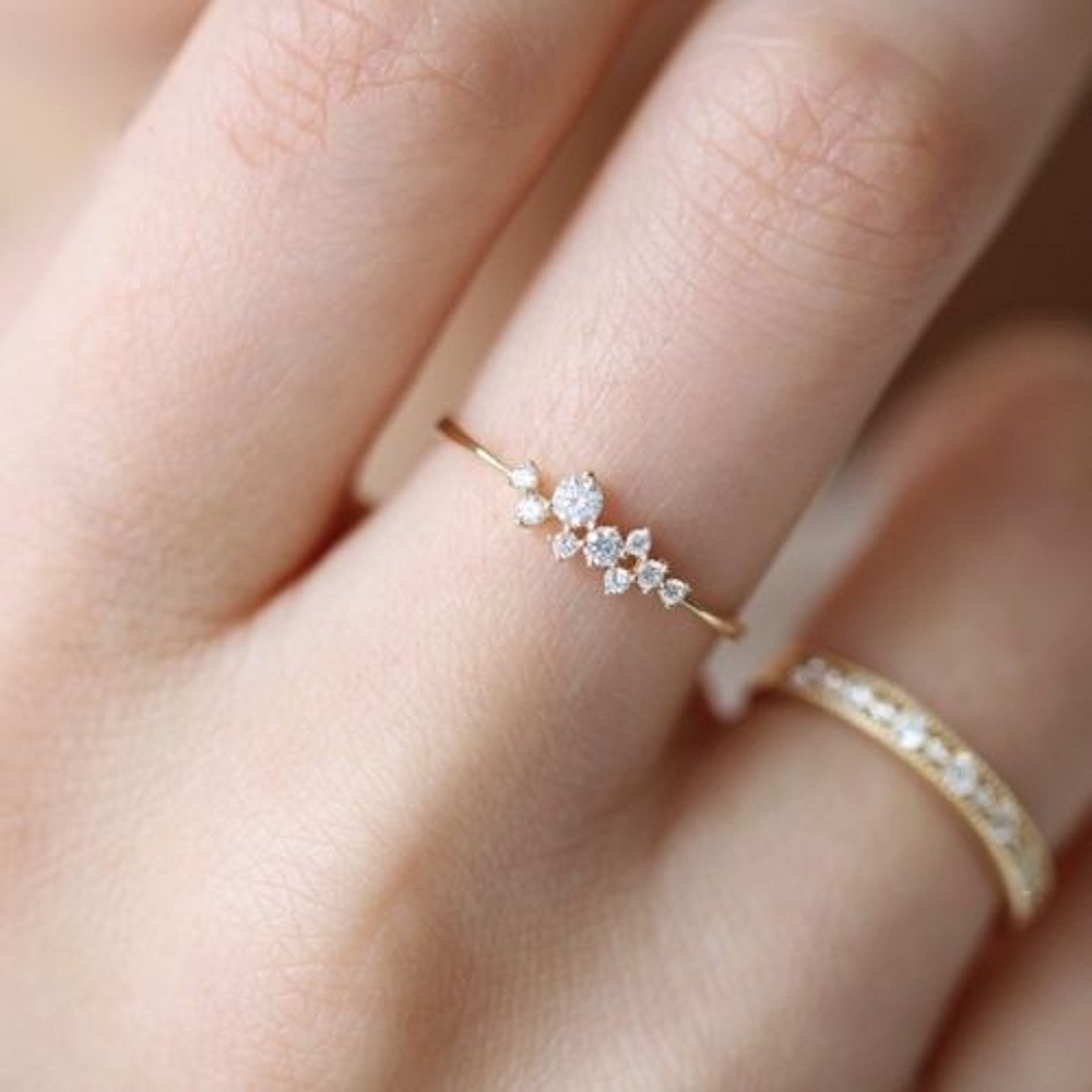Women Rings Gift Rhinestone Crystal Gold Wedding Elegant Lady New-Fashion Lover Simple