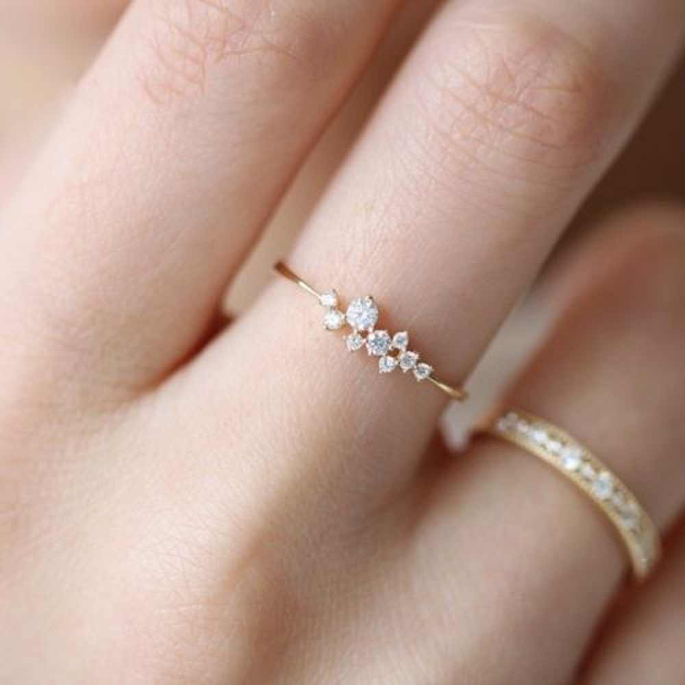 2019 New Fashion Women Rings Lady Elegant Simple Rhinestone Crystal Wedding Bridal Ring Gold Lover Rings Jewelry Gift
