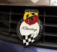 White Car Chromed Grille Emblem Badge Decal ABARTH Racing Italy For FIAT 124 125 125