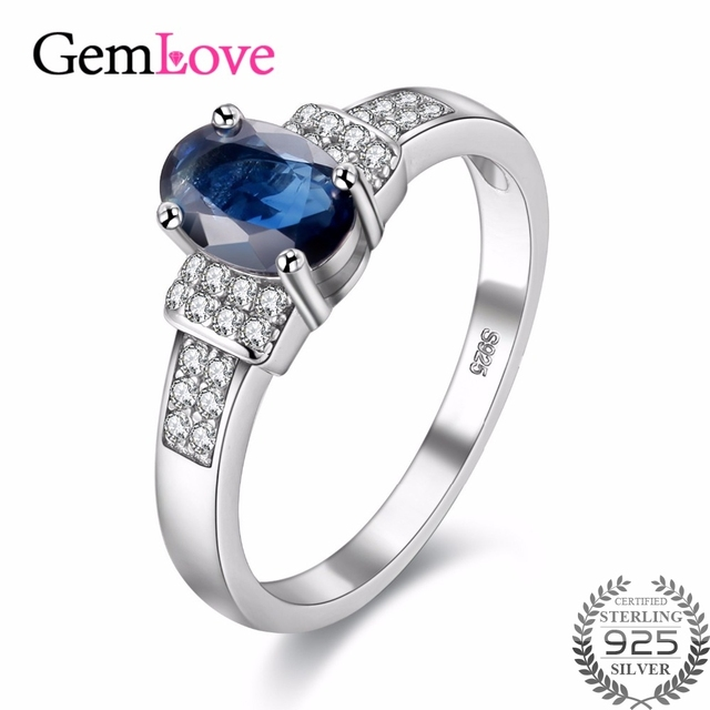 gemlove natural sapphire stone new rings for girls 925 sterling silver jewelry gemstone blue wedding ring - Blue Wedding Rings