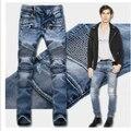 O ENVIO GRATUITO de homens Marca Maré calça jeans Reta Fina Calça Jeans Motociclista alta qualidade de Algodão Cozy Denim Homem magro Bule Fino masculino calças
