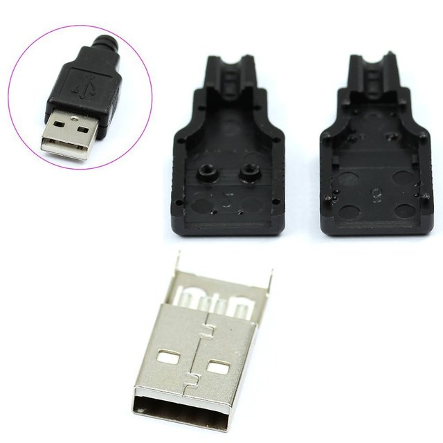 Акция! Новый 10 шт. Тип Мужской USB 4 Булавки разъем с черной Пластик крышка