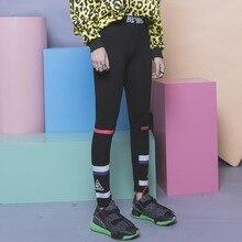Fashion HARAJUKU all-match black color block geometry triangle stripe print elastic waist legging