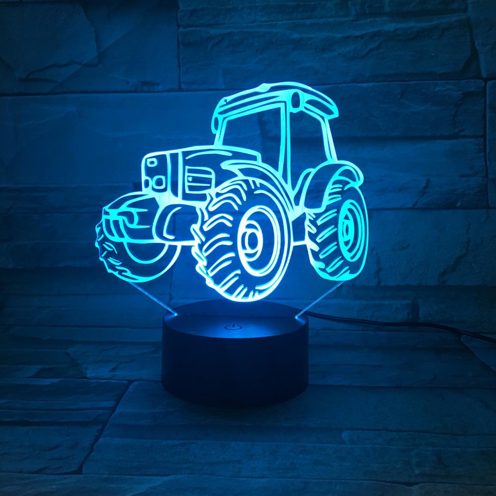 Us 14 3 37 Off 3d Farbwechsel Lampe Kinder Tischlampe Traktor Nachtlicht Led Indoor Bulding Kreative Dekorative Schreibtisch Luminaria Veilleuse In