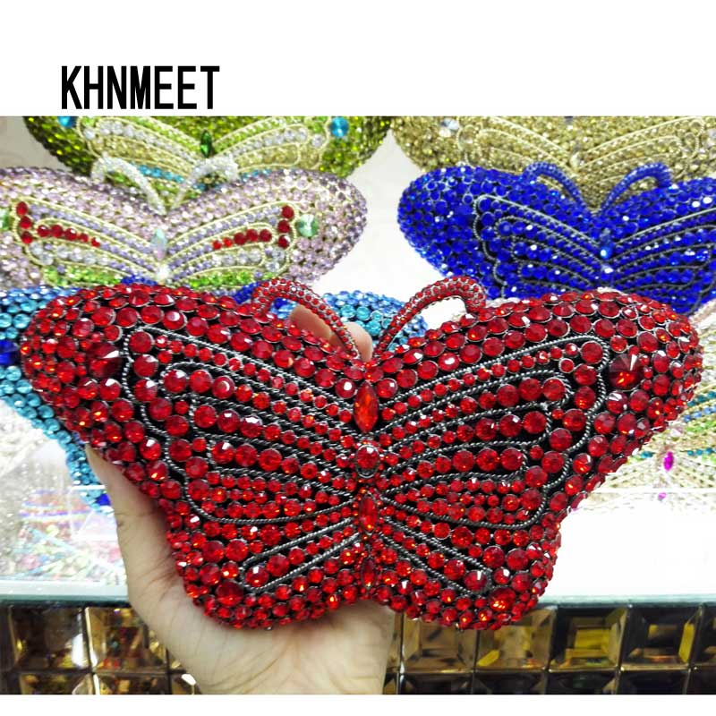 Newest Crystal Evening Bag Designer Butterfly Shape Clutch Bag Prom Handbags Animal Diamond Clutch Purse Party