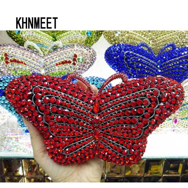 Newest Crystal Evening Bag Designer Butterfly Shape Clutch Bag Prom Handbags Animal Diamond Clutch Purse Party Bag sc457-A