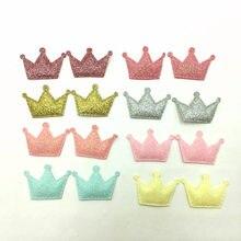80pcs 4*2.7cm Glitter Paillette Pads Patches Crown Appliques for