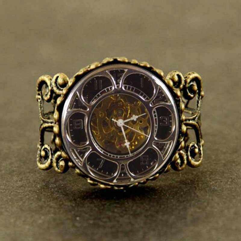 silver bronze Antique like Pocket Watch ring steampunk fashion flower rose Full Hunter mens 1pcs/lot rings xmas gift