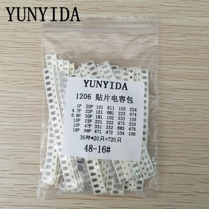 1206 SMD Capacitor Assorted Kit ,36values*20pcs=720pcs 1pF~10uF Samples Kit Electronic Diy Kit  Free Shipping