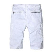 Summer Men Jeans Shorts White Knee Length Denim Short New Fashion Designer Short Ripped Jeans For Men Denim Shorts