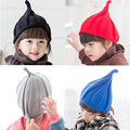Wholesale 2016 New Fashion Korean Winter Children Knitted Hat Parachute Candy Colored Pointed Hat Unisex September 6