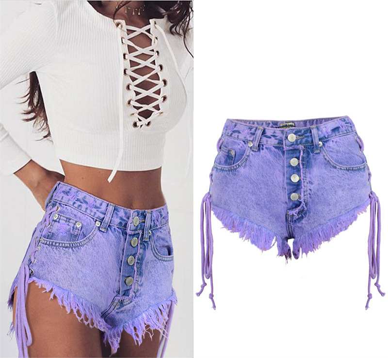 Summer Shorts Women Vintage Purple Denim Shorts Side Bandage Button Jean Short With Tassel