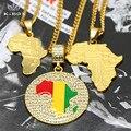 3 Projeto 18 k Banhado A Ouro Para Fora Congelado Mens África Continente mapa Pingente Charme Cadeia Cubano Colar Bling do Hip Hop K-Box jóias