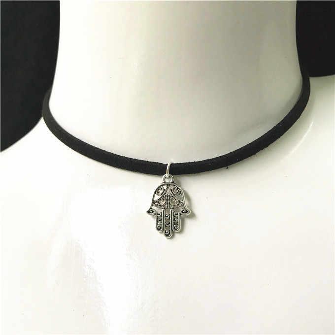 Горячее предложение, модное женское ожерелье с восковой веревкой, милые крылья, лист, звезда, крест, снежинка, черный бархат, колье, ожерелье, сделай сам, ювелирное изделие, подарок