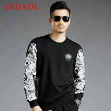 ANDAOL Mens Hoodies Sweatshirts Casual Slim print Long-Sleeve O-Neck Pullover Jacket Luxury Harajuku Stretch Cotton Tracksuits