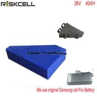 36V 40Ah Lithium battery 1000W 36V Triangle shape 10S Electric Bike battery for Bafang BBS01 motor kit Use Samsung cell