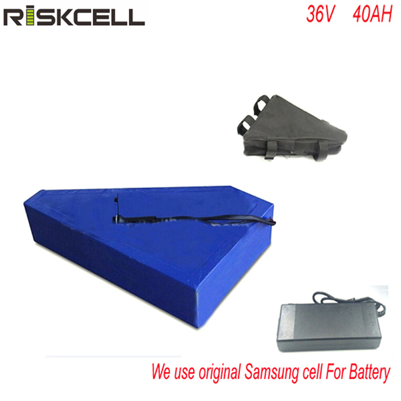 No taxes Flat cell 36v 1000w triangle Waterproof akku 36v 40ah electric bike lithium battery pack with charger For Samsung cell free customs taxes 48v 20ah 1000w li ion battery pack with 2a charger and 30a bms use for samsung cell lithium battery pack