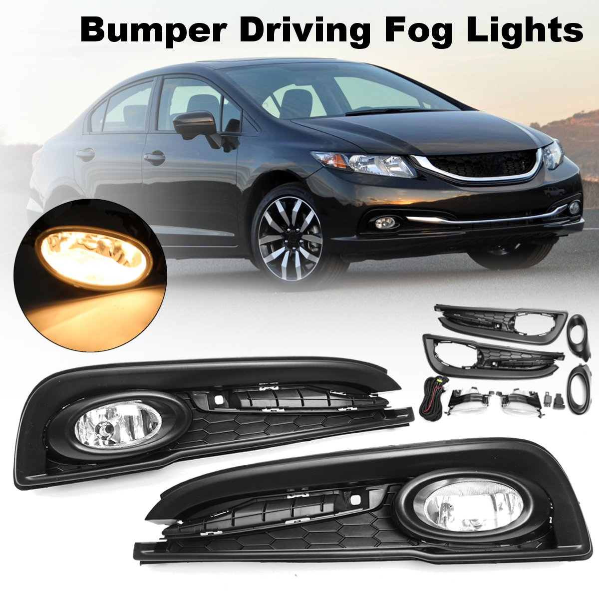 Pair H11 55W DC 12V Clear Bumper Driving Fog Lights w/ Wiring Harness Replacements For Honda/Civic 4DR Sedan 2013 2014 2015