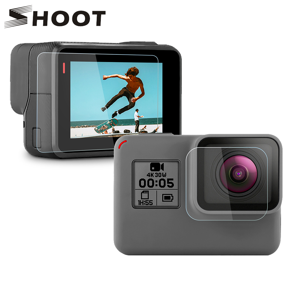 SHOOT Tempered Glass Lens + LCD Screen Protector For GoPro Hero 7 6 5 Hero7 Hero6 Hero5 Black Camera Protective Film For Go Pro