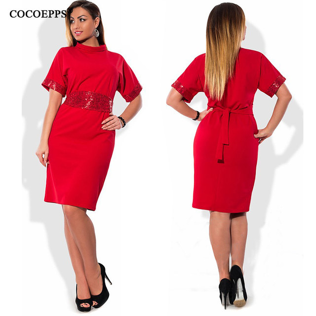 Online Shop 6xl 5xl Turtleneck Women Dress 2018 Summer Plus Size