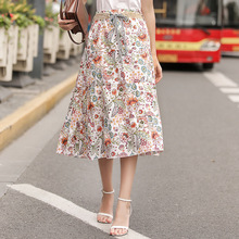 AcFirst Summer White Bohemian Women Fashion Sexy Skirt High Waist Flower Printed Long Skirts Beath A-Line Sashes