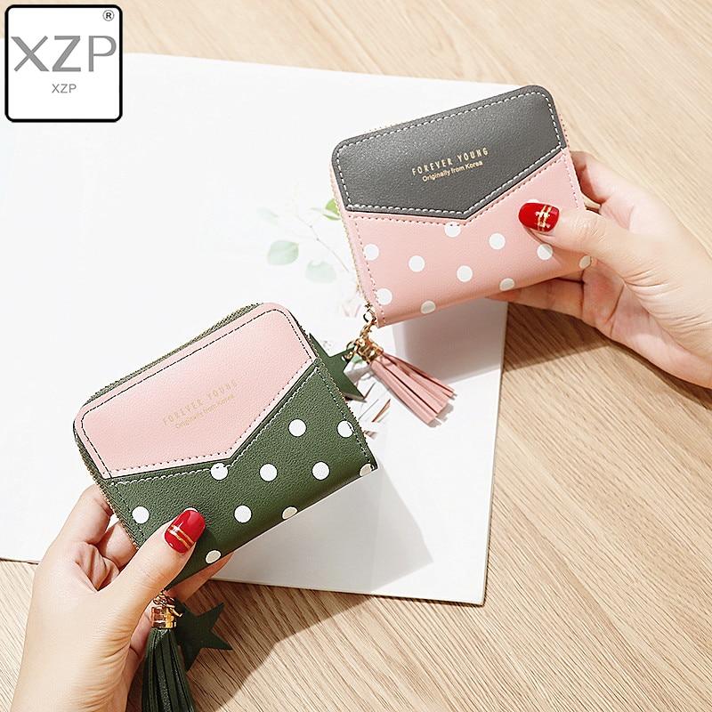 XZP 2019 Women Purse Multi-card Cute Wallet Leather Polka Dot Purses Tassel Coin Mini Wallets Short Money Pouch Ladies Moneybag