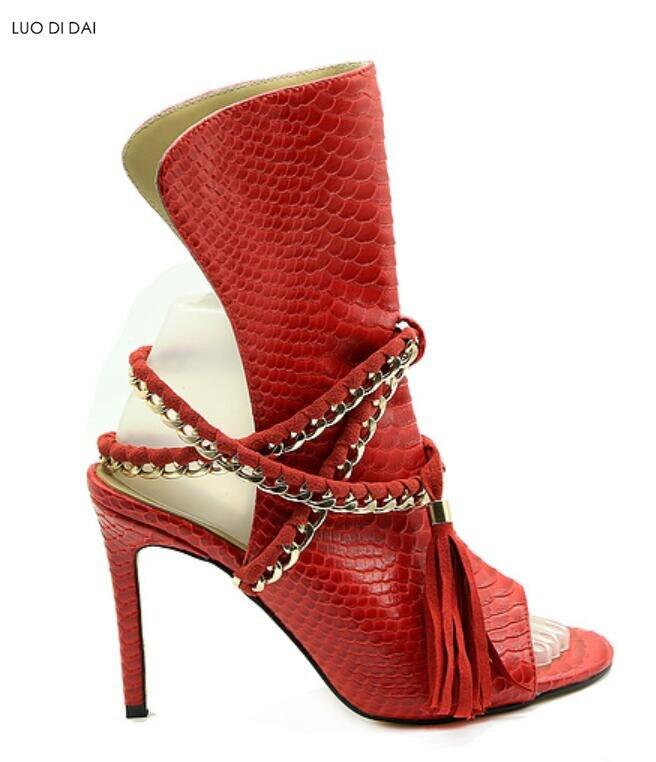 d2225c4a769639 Chaînes rouge Peau Pour Serpent Bottes Mince Style Cool Spartiates Piste  Chaussons Talon Femme Chaussures De ...