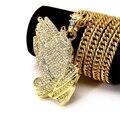 Venta caliente Plateada Oro de Mano de Buda Colgante de Collar de la Declaración 2016 de La Manera de Hip Hop HIPHOP Cadena de Oro Largo Collar de Hombres Mujeres