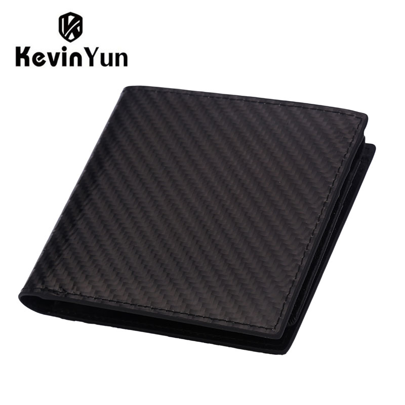KEVIN YUN Designer Brand Men Wallets Carbon Fiber RFID Blocking Genuine Leather Wallet Male Card Holder Purse with Coin Pocket ms brand men wallets dollar price purse genuine leather wallet card holder designer vintage wallet high quality tw1602 3