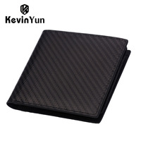 KEVIN YUN Designer Brand Men Wallets Carbon Fiber RFID Blocking Genuine Leather Wallet Male Card Holder
