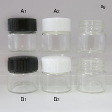 Promotion 30 x Portable 5g Small Cute glass cream jar with plastic lids 5cc mini glass vial cosmetic packaging containers pot