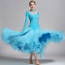 Ballroom Waltz Competition Dance Dresses For Women Lake Blue Stage Tango Dancing Costume Lady's Cheap Standard Ballroom Dress