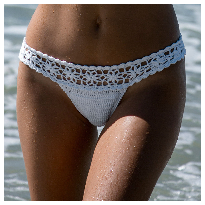 Kvinnor Unika Sexiga Handgjorda Hooka Baddräkter Bikini Bottom, Hooked Baddräkt Beach Wear Thong