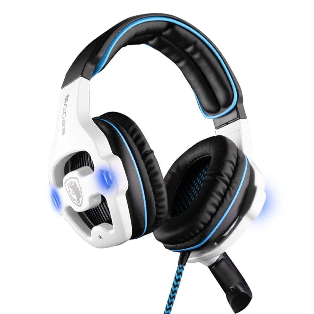 SADES Professional игровая гарнитура 7,1 канала стерео звук USB наушники с микрофоном наушники со светодиодом для ПК компьютер Gamer