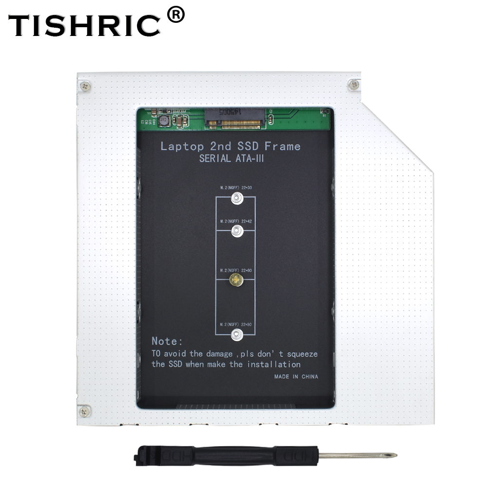 TISHRIC 2nd HDD Caddy 9.5mm SATA 3 Aluminum NGFF M.2 M2 Optibay Hard Disk Enclosure Adapter DVD HDD 2.5 SSD Case For Laptop