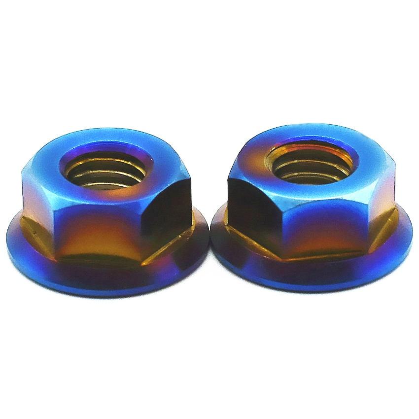 Titanium Flange Nut M6 M8 M10 M12 M14 M16 M18 Burned Blue Color Motorcycle Modified 2pcs Hexagon Titanium Nuts Ti Fastener 2 pcs ti screw nut m10 m12 m14titanium flange nut gold multiple and ti color hexagon titanium screw nuts ti fastener