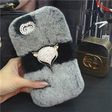 TOP Genuine Real Rex Rabbit Hair Fur diamond bling fox coque Case For Samsung Galaxy A7 A5 A3 J5 J7 J3 J1 J2 2016 Fundas Carcasa
